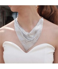 Shining Aluminum Sequins Triangle Scarf Design High Fashion Women Bib Statement Necklace - Silver
