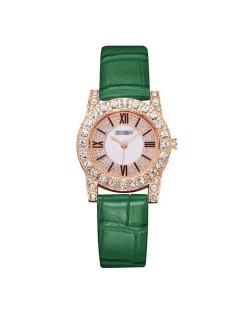 7 Colors Available Rhinestone Inlaid Shining Roman Numerals Index Design Women Fashion Leather Wrist Watch
