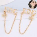 Royal King Fashion Golden Women Tassel Chain Design Alloy Earrings