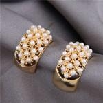 Pearls Inlaid Korean Fashion Sweet Fair Lady Design Women Stud Earrings