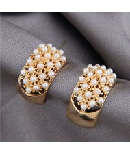 Pearls Inlaid Korean Fashion Sweet Fair Lady Design Women Stud Earrings