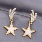 Korean Fashion Lucky Star Golden Style Women Stud Earrings