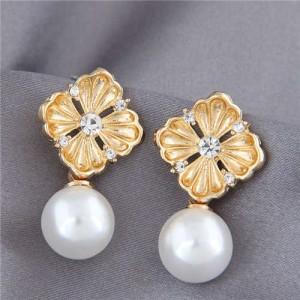 Pearl and Rhinestone Golden Flower Design Korean Fashion Elegant Women Earrings
