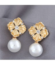 Pearl and Rhinestone Golden Flower Design Korean Fashion Elegant Women Earrings