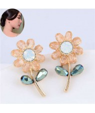 Korean Fashion Mini Crystal Sun Flower Design High Fashion Women Statement Stud Earrings