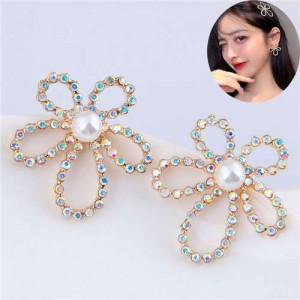 Shining Rhinestone Hollow Flower Adorable Fashion Women Costume Stud Earrings