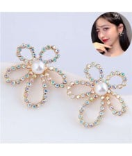 Shining Rhinestone Hollow Flower Adorable Fashion Women Costume Stud Earrings