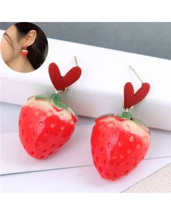 Sweet Heart and Strawberry Combo Design High Fashion Women Stud Earrings