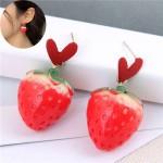 Sweet Heart and Strawberry Combo Design High Fashion Women Stud Earrings