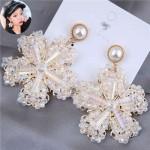 Luxurious Glistening Design Snowflake Bold Fashion Women Stud Earrings