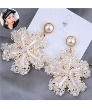 Luxurious Glistening Design Snowflake Bold Fashion Women Stud Earrings