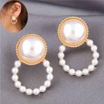 Pearl Fashion Small Hoop Design Elegant Style Women Stud Earrings