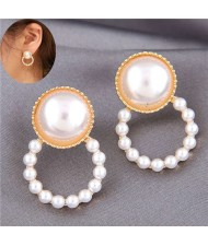 Pearl Fashion Small Hoop Design Elegant Style Women Stud Earrings