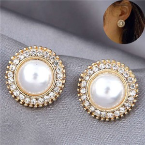 Pearl Inlaid Korean Fashion Round Button Design Graceful Women Stud Earrings