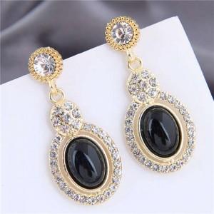 Artificial Turquoise Embellished Rhinestone Rimmed Oval Shape Dangling Fashion Women Stud Alloy Earrings - Black