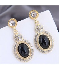 Artificial Turquoise Embellished Rhinestone Rimmed Oval Shape Dangling Fashion Women Stud Alloy Earrings - Black