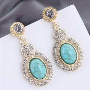 Artificial Turquoise Embellished Rhinestone Rimmed Oval Shape Dangling Fashion Women Stud Alloy Earrings - Teal