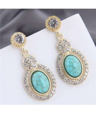 Artificial Turquoise Embellished Rhinestone Rimmed Oval Shape Dangling Fashion Women Stud Alloy Earrings - Teal