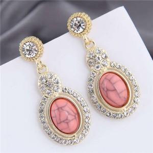 Artificial Turquoise Embellished Rhinestone Rimmed Oval Shape Dangling Fashion Women Stud Alloy Earrings - Pink