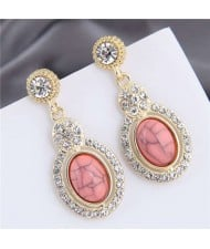 Artificial Turquoise Embellished Rhinestone Rimmed Oval Shape Dangling Fashion Women Stud Alloy Earrings - Pink