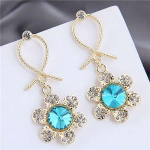 Rhinestone Embellished Dangling Flower Bowknot Design Golden Alloy Women Stud Earrings - Blue