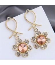 Rhinestone Embellished Dangling Flower Bowknot Design Golden Alloy Women Stud Earrings - Champagne