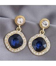 Gem Inlaid Square Fashion Shining Graceful Women Stud Earrings - Dark Blue