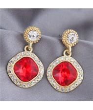 Gem Inlaid Square Fashion Shining Graceful Women Stud Earrings - Red