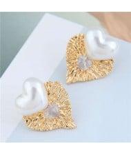 Pearl Heart and Bird Nest Style Heart Combo Design High Fashion Women Stud Earrings - White
