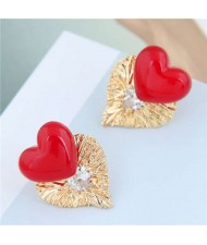 Pearl Heart and Bird Nest Style Heart Combo Design High Fashion Women Stud Earrings - Red