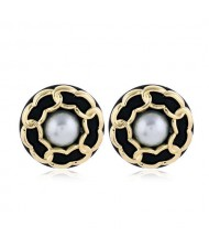 Chain Attached Pearl Inlaid High Fashion Round Women Stud Earrings - Black