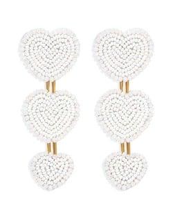 Bohemian Bold Fashion Mini Beads Triple Hearts Handmade Women Stud Earrings - White