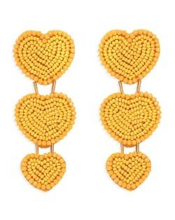 Bohemian Bold Fashion Mini Beads Triple Hearts Handmade Women Stud Earrings - Yellow