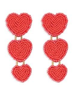 Bohemian Bold Fashion Mini Beads Triple Hearts Handmade Women Stud Earrings - Red