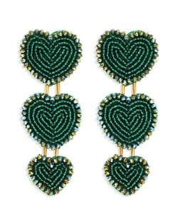 Bohemian Bold Fashion Mini Beads Triple Hearts Handmade Women Stud Earrings - Green