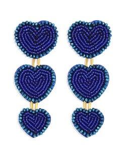Bohemian Bold Fashion Mini Beads Triple Hearts Handmade Women Stud Earrings - Blue