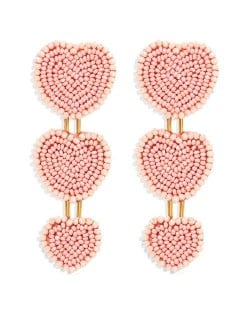 Bohemian Bold Fashion Mini Beads Triple Hearts Handmade Women Stud Earrings - Pink