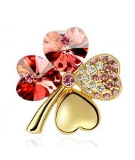 Austrian Crystal and Czech Stones Four Leaf Clover Gloden Brooch - Red