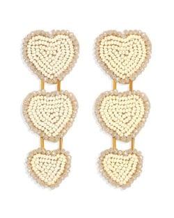 Bohemian Bold Fashion Mini Beads Triple Hearts Handmade Women Stud Earrings - Khaki