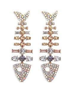 Gorgeous Bling Fashion Fish Bone Design High Fashion Women Stud Earrings