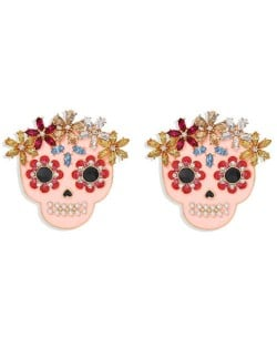 Floral Skull Pink Fashion Women Alloy Statement Earrings