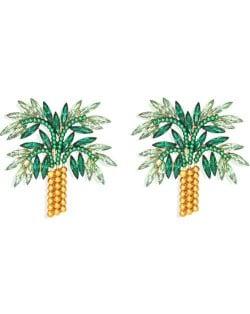 High Fashion Coconut Tree Design Women Rhinestone Stud Earrings - Green