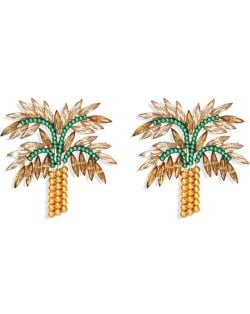 High Fashion Coconut Tree Design Women Rhinestone Stud Earrings - Brown