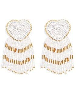 Bohemian Peach Heart Mini Beads Tassel Fashion Women Costume Statement Earrings - White