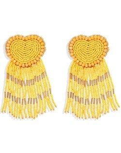 Bohemian Peach Heart Mini Beads Tassel Fashion Women Costume Statement Earrings - Yellow