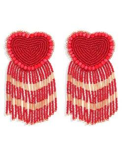 Bohemian Peach Heart Mini Beads Tassel Fashion Women Costume Statement Earrings - Red