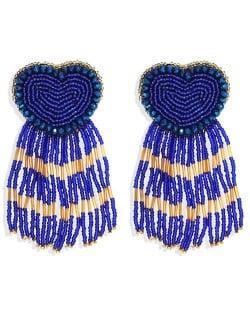 Bohemian Peach Heart Mini Beads Tassel Fashion Women Costume Statement Earrings - Blue