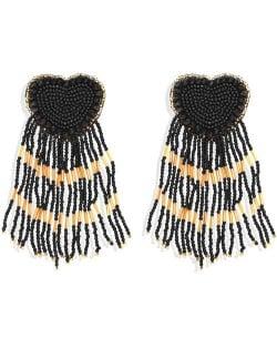 Bohemian Peach Heart Mini Beads Tassel Fashion Women Costume Statement Earrings - Black