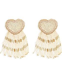 Bohemian Peach Heart Mini Beads Tassel Fashion Women Costume Statement Earrings - Khaki