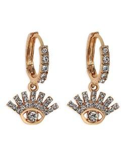 Rhinestone Embellished Shining Eye Pendant Design Small Hoop Fashion Women Earrings - White